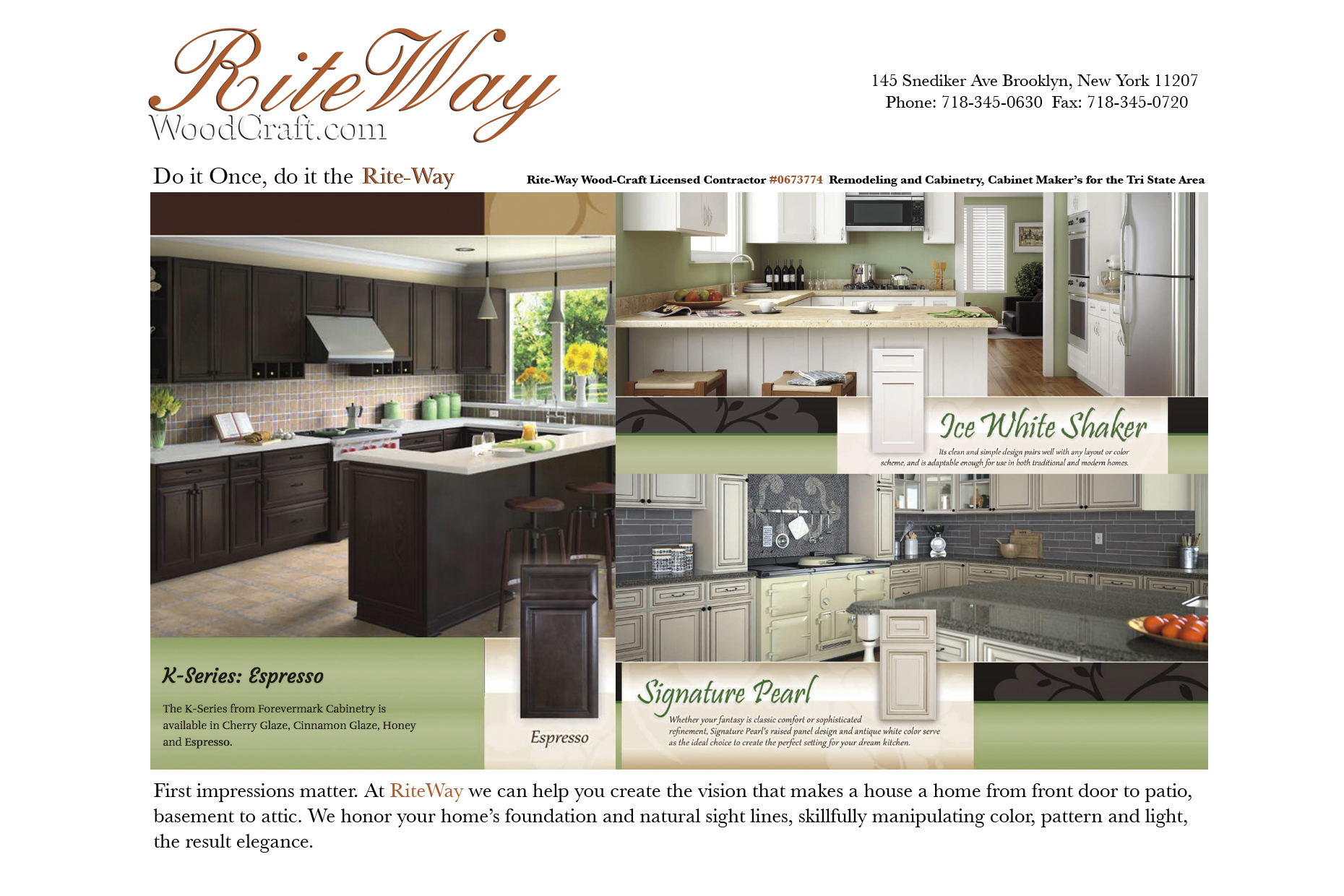 Rite-Way Wood-Craft Licensed Contractor Remodeling and Cabinetry, Cabinet Maker's for the Tri State Area